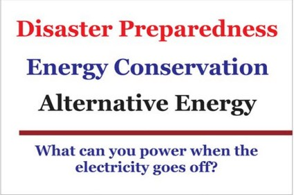 Disaster Prep Energy Cons Altern Energy sign