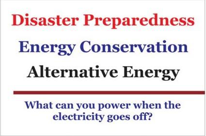 Disaster Prep Energy Cons Altern Energy sign