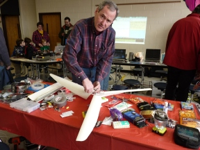 Mike McHenry putting together wind turbine