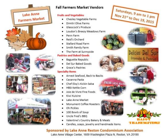 Lake Anne Farmers Market Flyer - Fall 2015
